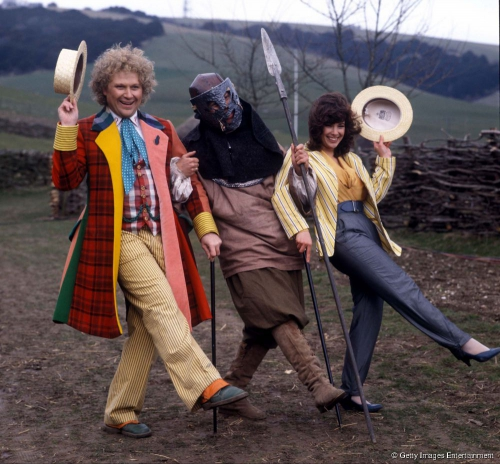 Colin Baker and Nicola Bryant posed on the Doctor Who set on 10 April 1986